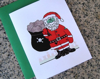 zombie santa claus with sack of brains christmas cards / notecards / thank you notes (blank or custom inside) with envelopes - set of 10