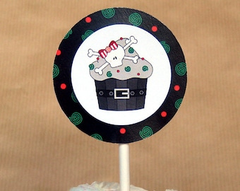 holiday skull cupcake christmas cupcake cake toppers decorations can be personalized - set of 12