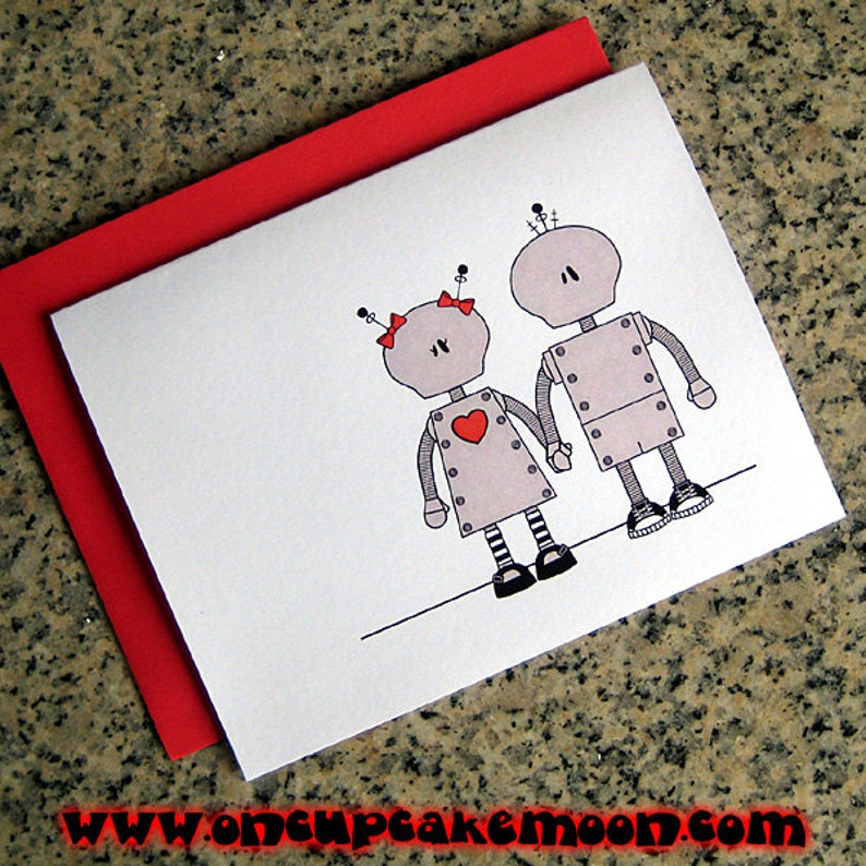 robot couple in love holding hands valentines / notecards / image 0