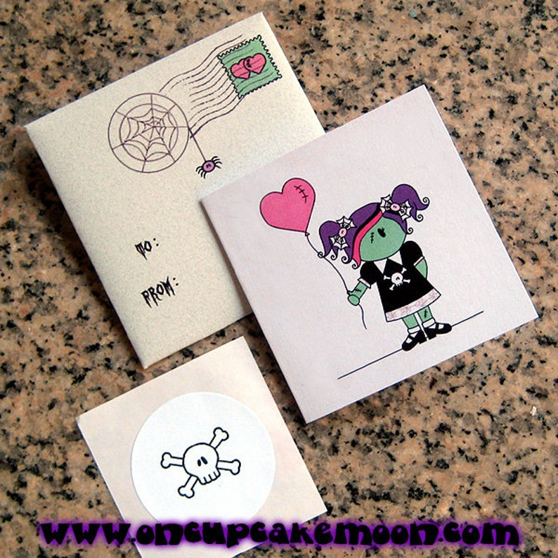 zombie girl custom personalized mini cards envelopes and image 0