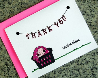 punk rock goth baby girl in a laundry basket baby shower thank you notes blank cards or custom / personalized with envelopes - set of 10