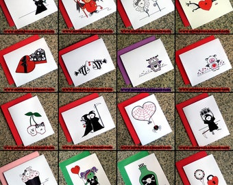 set of 10 choose your own set of cute goth valentines alternative dark love notes FOLDED CARDS and colored envelopes