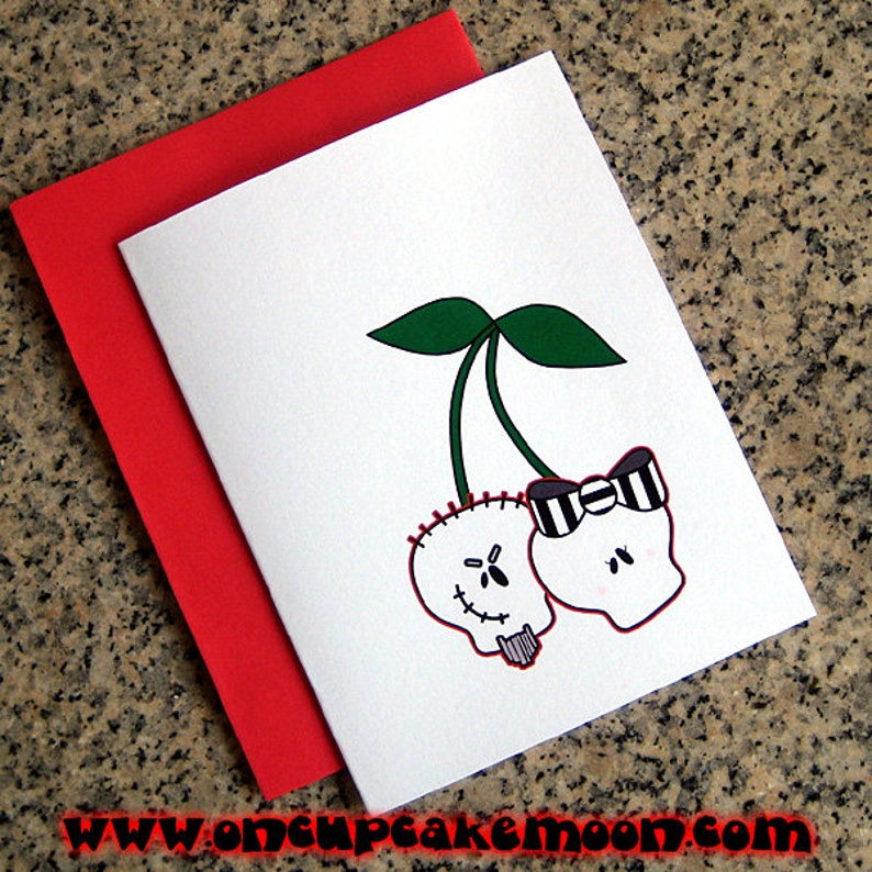 skull cherries couple valentines / notecards / thank you notes image 0