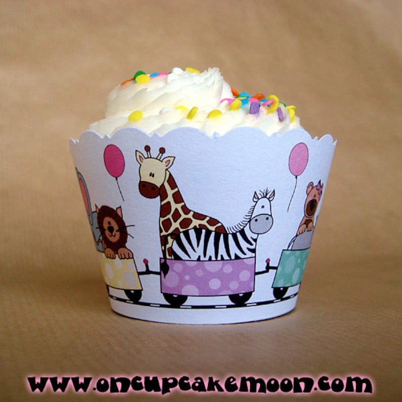 zoo train girl birthday party cupcake wrappers decorations in image 0