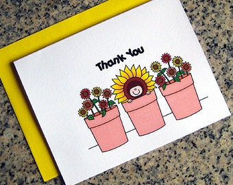 sunflowers baby in a flower pot shower thank you cards for either boy or girl (blank / custom printed inside) with envelopes - set of 10