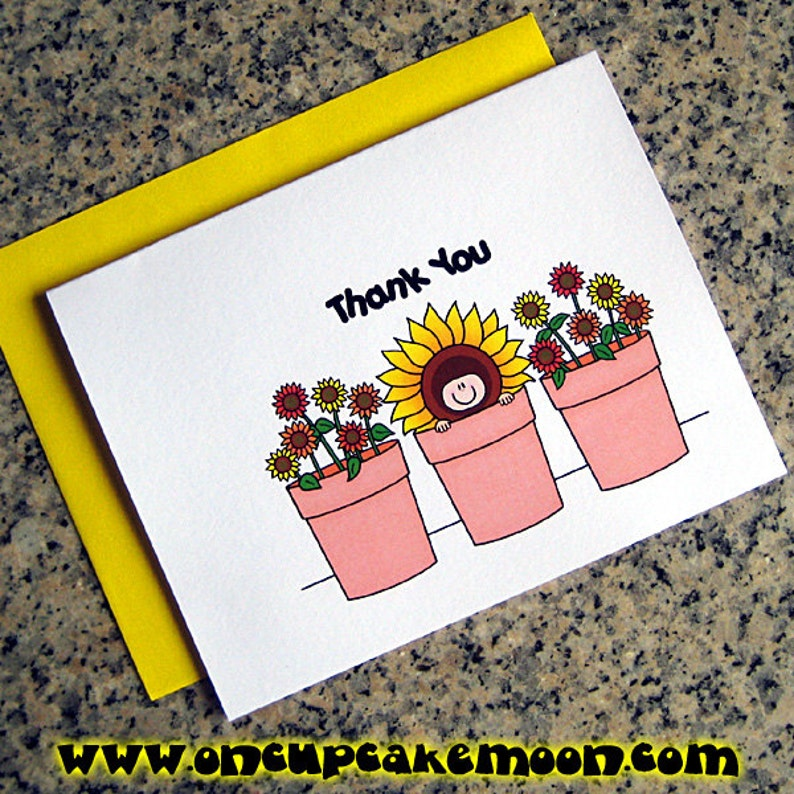 sunflowers baby in a flower pot shower thank you cards for image 0