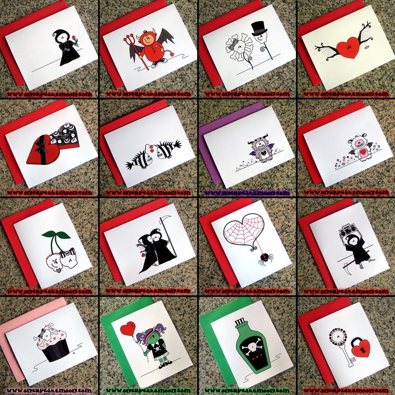 set of 10 choose your own set of cute goth valentines image 0