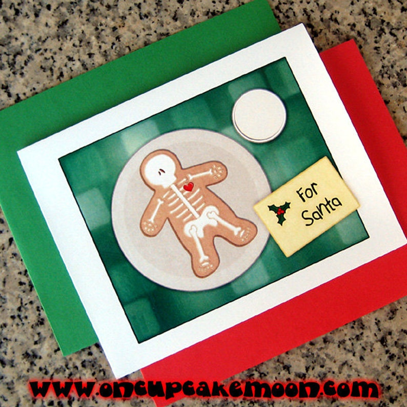 gingerdead man cookie for santa christmas cards / notecards / image 0