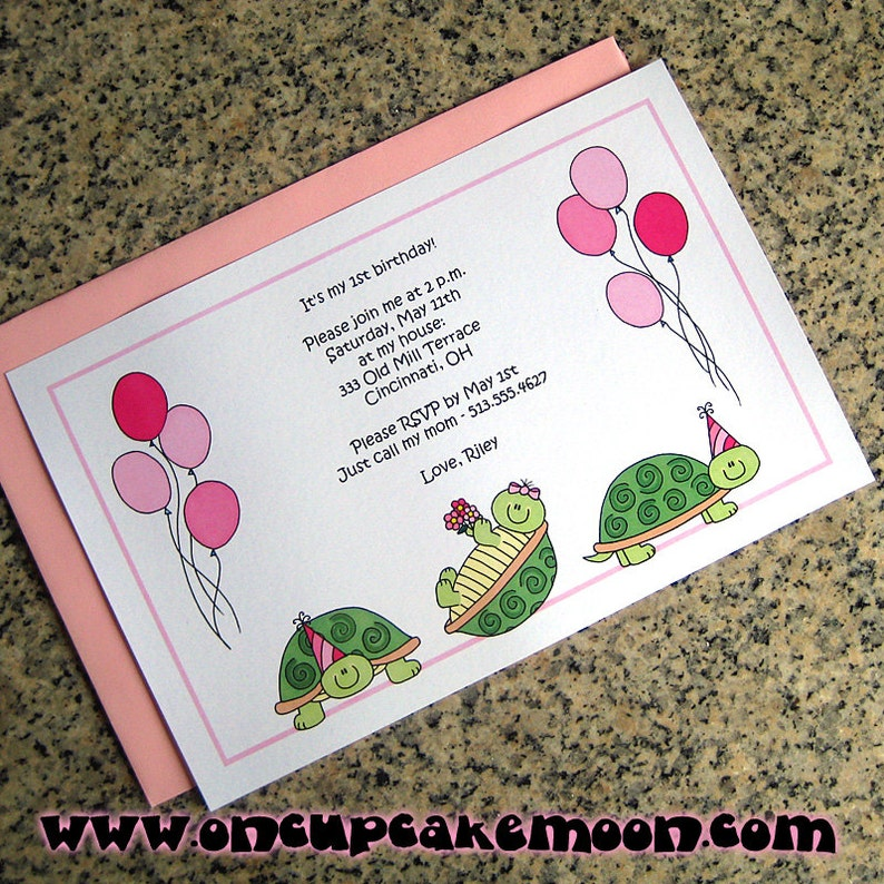 turtle trio for girls with party hats and balloons full sized image 0