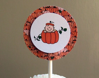 lil pumpkin cupcake cake toppers decorations custom personalized for autumn baby shower or first birthday party  - set of 12