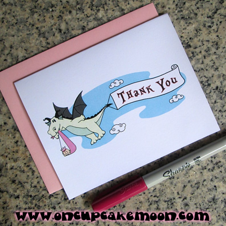 dragon stork fairy tale baby shower thank you cards for girl image 0