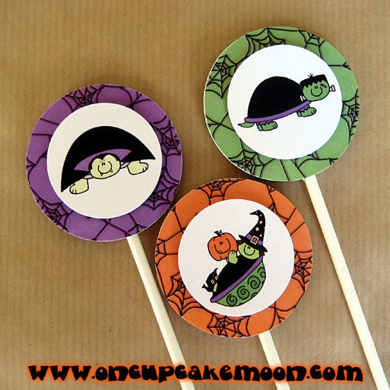 halloween turtle costume birthday party cupcake cake toppers image 0