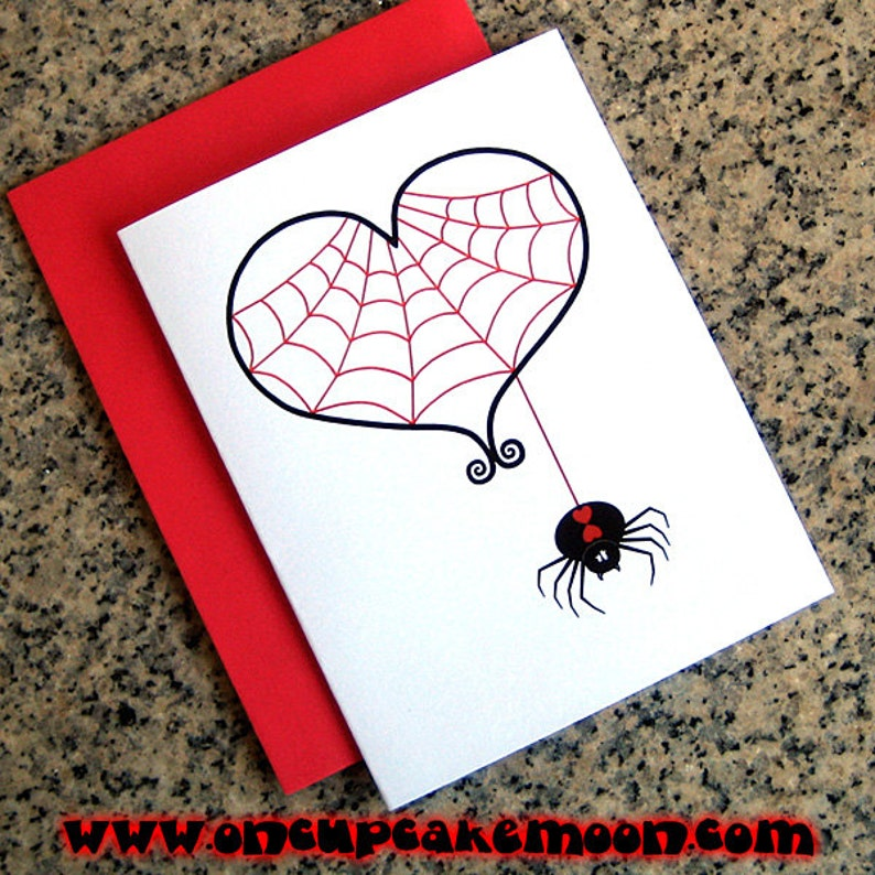 black widow and red spider web heart goth valentines / image 0