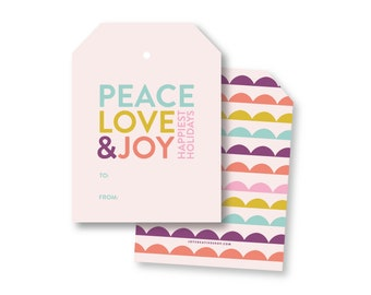 Peace & Love Scallop Tags, Christmas Family Gift Tags, Holiday packaging, Gift Tag, Christmas packaging, Holiday gift wrap 004bXL
