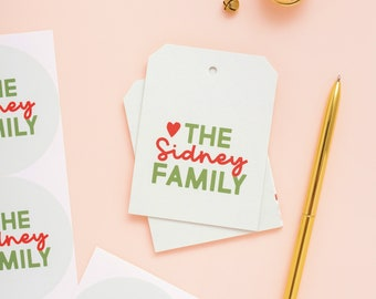 Heart Christmas Family Gift Tags, Holiday packaging, Gift Tag, Christmas packaging, Holiday gift wrap 031HT