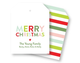 Merry Christmas Holiday Tags, Family Gift Tags, Holiday packaging, XL Gift Tag, Christmas packaging, Holiday gift wrap, Holiday Tags 028HT