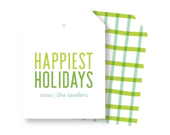 Green Plaid Holiday Tags, Family Gift Tags, Holiday packaging, XL Gift Tag, Christmas packaging, Holiday gift wrap, Holiday Tags 026HT