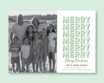 Holiday Merry Merry Christmas Shadow Photo Card