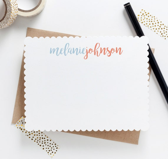 script scallop personalized stationery personalized note etsy