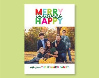 Happy Merry Christmas Photo Card
