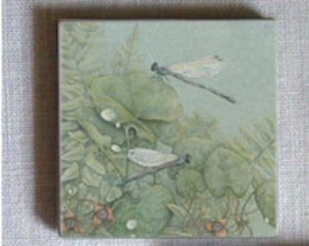 Ginger Dancers, Entomology on 2-inch ceramic tile magnets, damselfly, wild ginger flower original Botanical design kitchen magnet