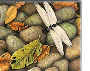 Dragonfly & Autumn Leaves on 2-inch ceramic tile magnet, original design home decor kitchen magnet, autumn colors river rocks pebbles stones