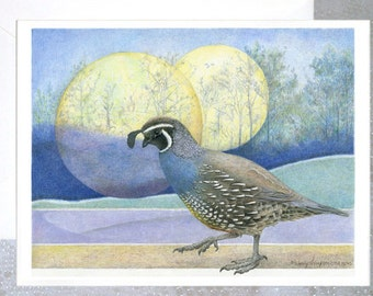 "BIRD ART CARD with envelope ~ ""The_Messenger""   California Quail on blank note card - bird art nature design, fantasy moon luna"