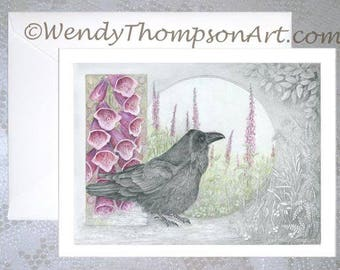 Ravenalis Digitalis - Art card, Raven with wildflowers, fox glove art wildflower digitalis lavender pink, fantasy nature art