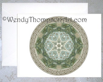 Turtle Mandala ~ NOTE CARD and Envelope Celtic art, wild life fantasy turtle art, wildflower, mandala, original design nature floral art