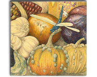 DRAGONFLY with Market vegies on 2-inch ceramic tile magnets, Autumn colors, corn honey, home decor kitchen magnets, fantasy entomology