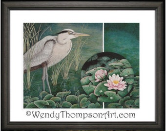 Blue Heron -  Open edition print from original colored pencil drawing ~ Fine detailed Nature art fantasy, water lily pond nature, home decor