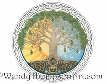 Tree of Life - Celtic art blank note card, oak tree acorns, sun and moon luna