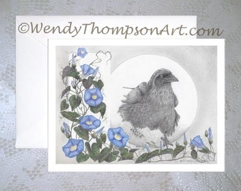 NOTE CARD with envelope ~ Morning Glorious RAVEN with heavenly blue Morning Glory, corvid art feathers, wildflower vines, fantasy nature art