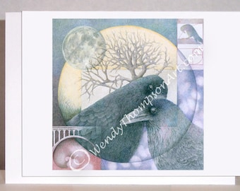 Raven art blank note cards - Raven Corvid Love - Fibonacci, Endless Love, fantasy moon luna, Celtic spirals