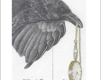 RAVEN ~ Corvid art~ Open edition print original graphite drawing, Nature bird wild life fantasy art, moon luna pocket watch home decor