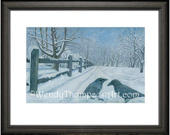 CROWS Fantasy Art Open edition print from original colored pencil drawings ~ Fine detailed corvid crows Nature art, home decor, winter blues