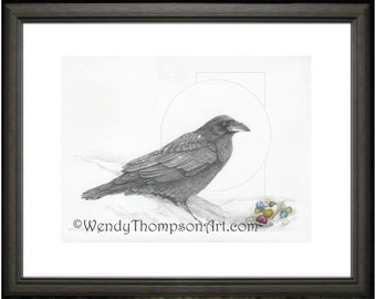 RAVEN:  Open edition print from original graphite pencil drawings, detailed Nature corvid art, fantasy home decor, skeleton key marbles.