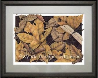 DRAGONFLY with Golden Autumn Leaves ~ Open edition print from original colored pencil drawings ~ Fine detailed Nature art maple wings.