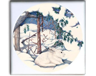 Snow Hare in Winter on 2-inch ceramic tile magnets, original design home decor kitchen magnets, fantasy winter rabbit