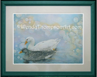Greylag Goose, white goose, detailed fantasy Nature art. Open edition print from original colored pencil drawing, home decor, bubbles