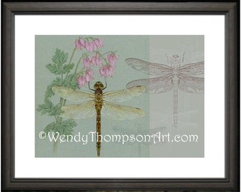 DRAGONFLY and Wildflowers ~ Open edition print from original colored pencil drawings, detailed Nature art, home decor, digital art, dicentra