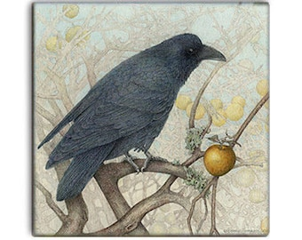 AUTUMN Raven on 2-inch ceramic tile magnets, original design home decor kitchen magnets, corvid bird art, wildlife fantasy moon