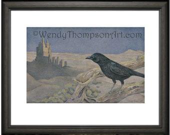 Castle CROW ~ Indigo Knight fantasy art,  Open edition print, original colored pencil drawings, detailed corvid bird Nature art, home decor.