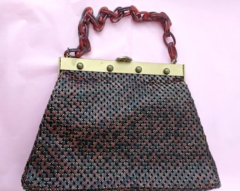a30986f566 Vintage 1950s WHITING and DAVIS Maroon Ladies Handbag Mesh Lucite Rings  Handle Fifties Fashion Purse