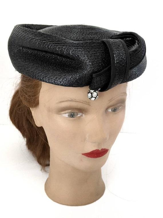Vintage 1960s Navy Blue Ladies Straw Hat Summer H… - image 7