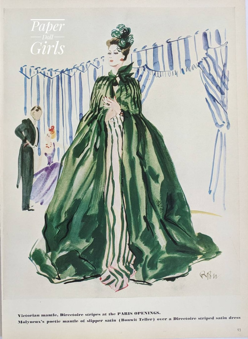 1938 Vogue Fashion Magazine Advertisement Couture Collectible Illustration  Molyneux Green Evening Cape 1930s