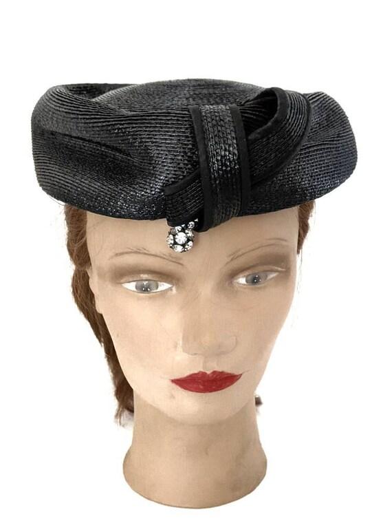 Vintage 1960s Navy Blue Ladies Straw Hat Summer H… - image 4