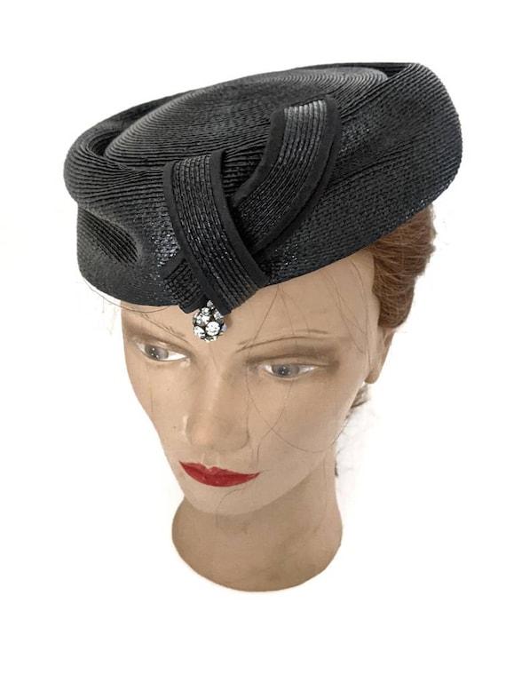 Vintage 1960s Navy Blue Ladies Straw Hat Summer H… - image 8
