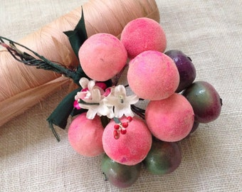Vintage Milliner Habadashery millinery hatmaking Fruit bouquet 1970  pink sewing notion photography prop stylist hat maker notions