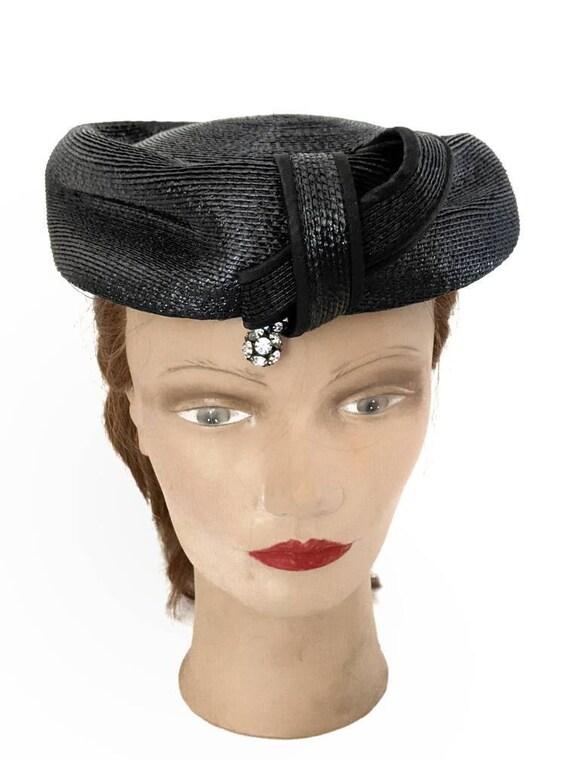 Vintage 1960s Navy Blue Ladies Straw Hat Summer H… - image 1
